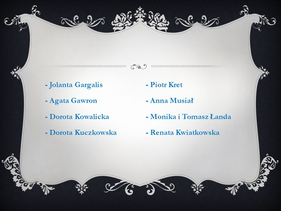 - Jolanta Gargalis - Agata Gawron - Dorota Kowalicka - Dorota Kuczkowska