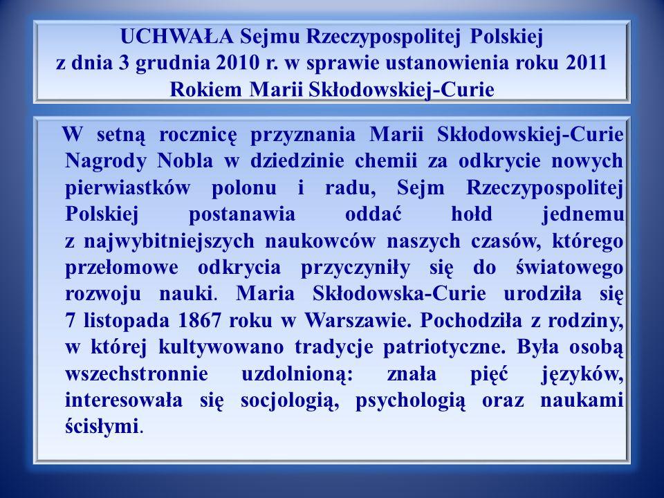UCHWAŁA Sejmu Rzeczypospolitej Polskiej z dnia 3 grudnia 2010 r