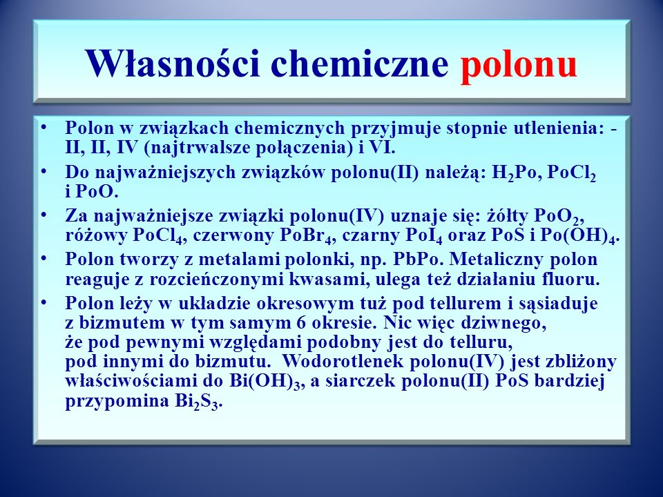 Własności chemiczne polonu