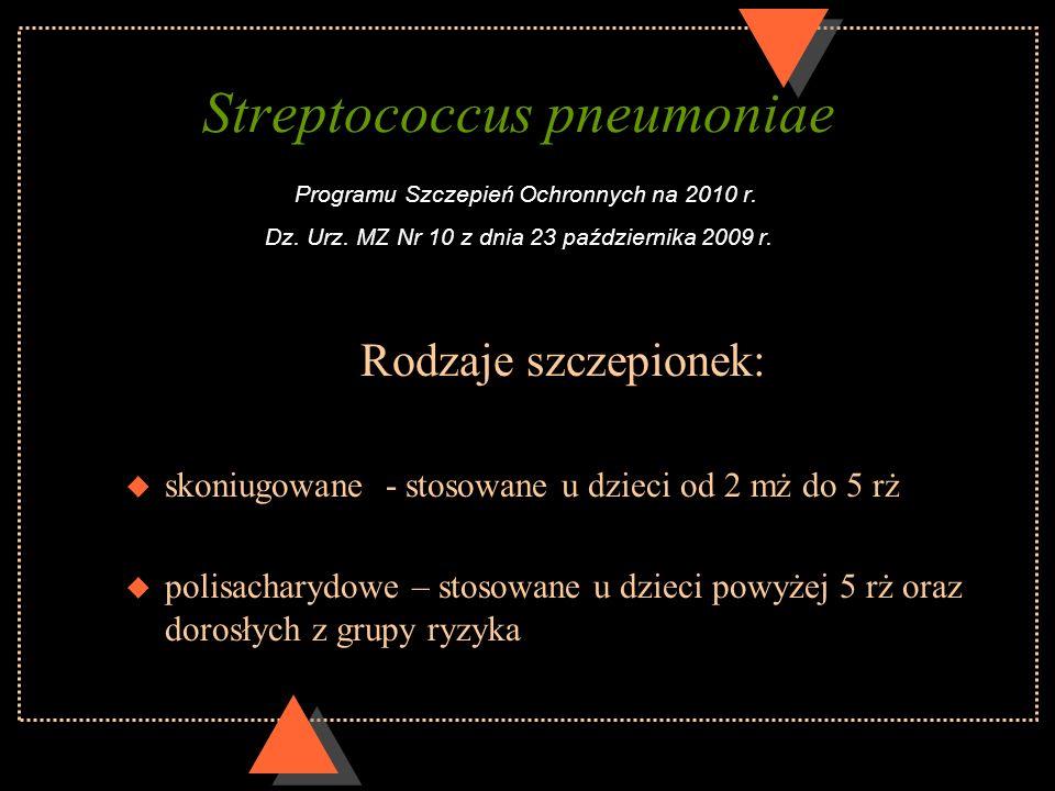 Streptococcus pneumoniae Programu Szczepień Ochronnych na 2010 r. Dz