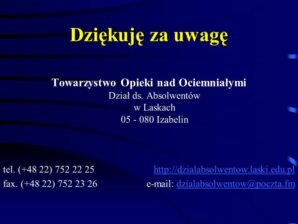Dziękuję za uwagę Towarzystwo Opieki nad Ociemniałymi Dział ds. Absolwentów w Laskach 05 - 080 Izabelin.