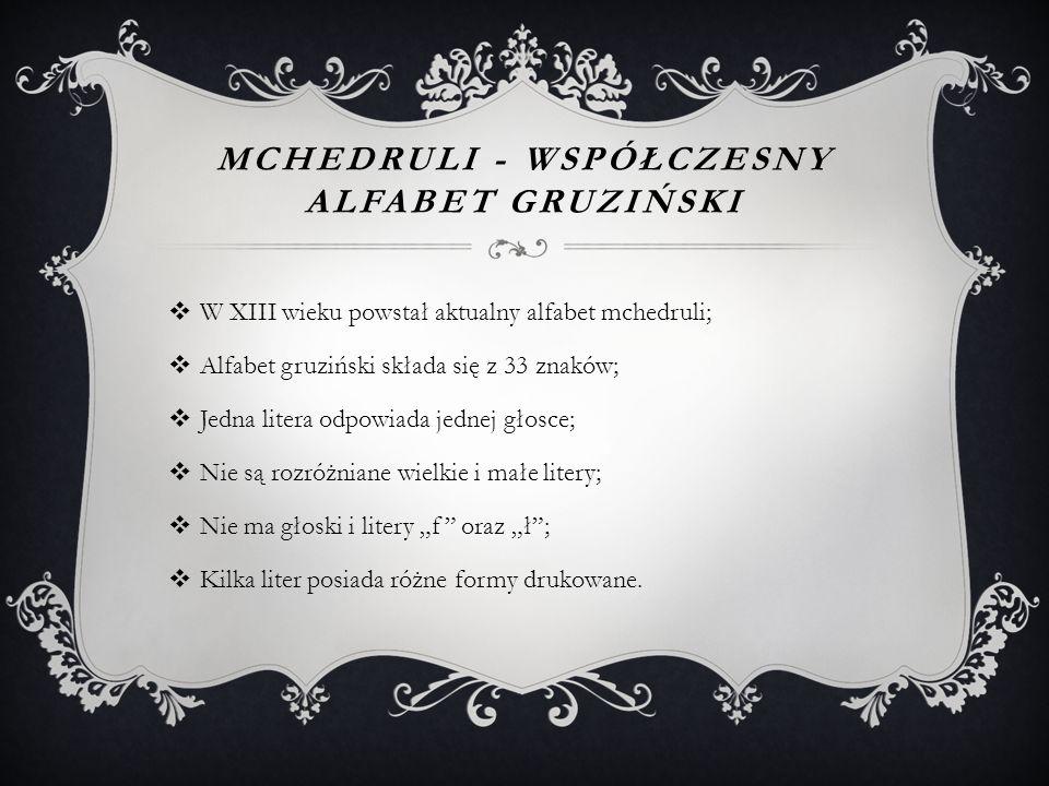 Mchedruli - współczesny alfabet gruziński