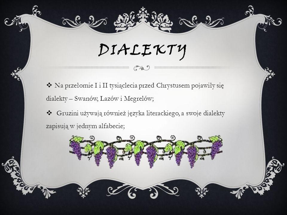 DialektyNa przełomie I i II tysiąclecia przed Chrystusem pojawiły się dialekty – Swanów, Lazów i Megrelów;