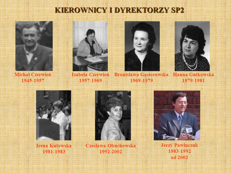 KIEROWNICY I DYREKTORZY SP2 Bronisława Gąsiorowska 1969-1979