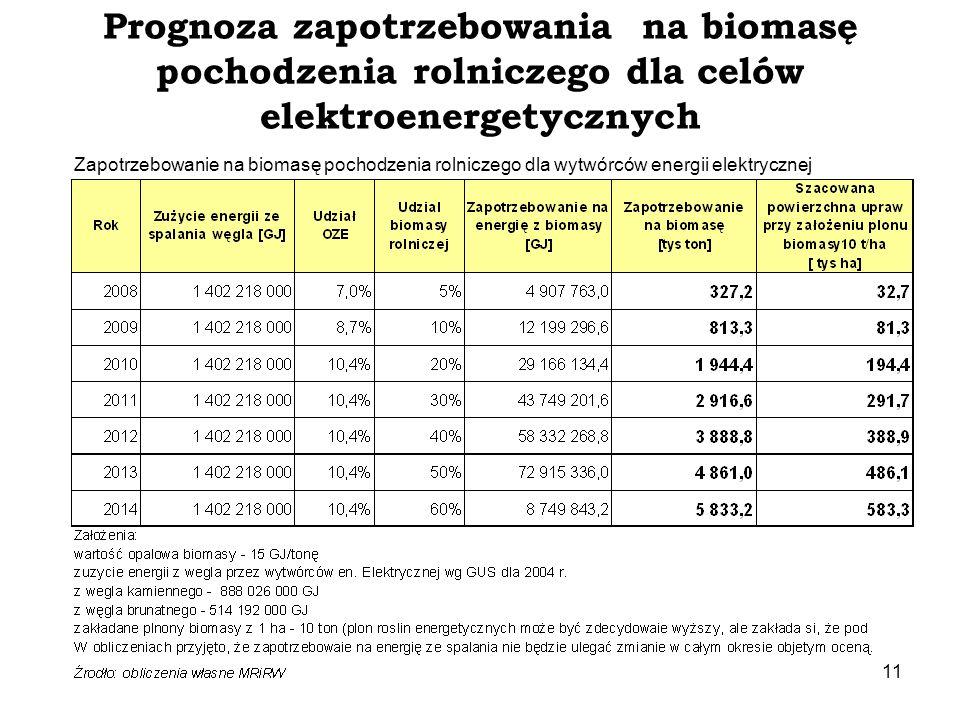 Prognoza zapotrzebowania na biomasę pochodzenia rolniczego dla celów elektroenergetycznych