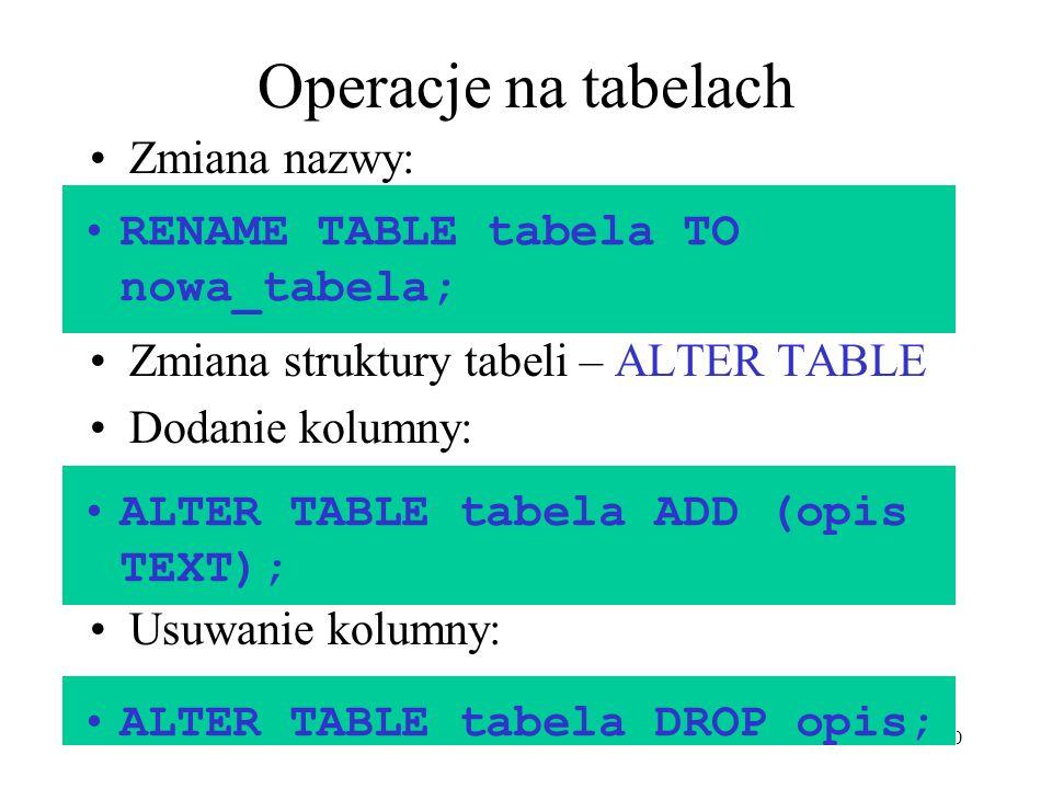 Operacje na tabelach Zmiana nazwy: RENAME TABLE tabela TO nowa_tabela;