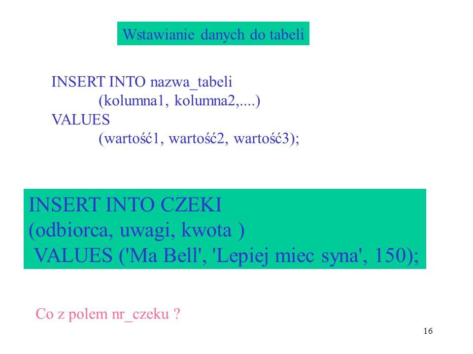 (odbiorca, uwagi, kwota ) VALUES ( Ma Bell , Lepiej miec syna , 150);