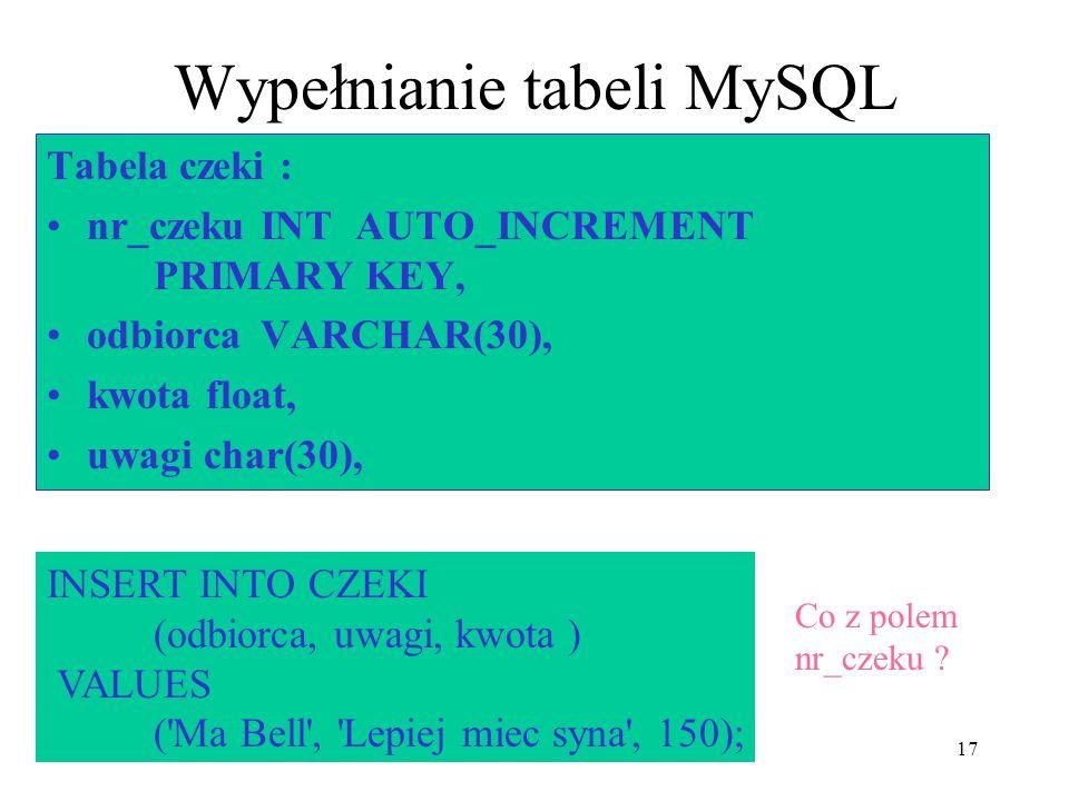 Wypełnianie tabeli MySQL