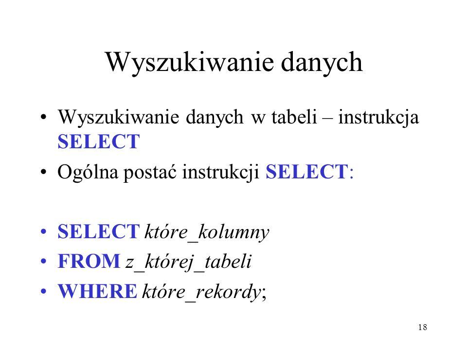 Wyszukiwanie danych Wyszukiwanie danych w tabeli – instrukcja SELECT