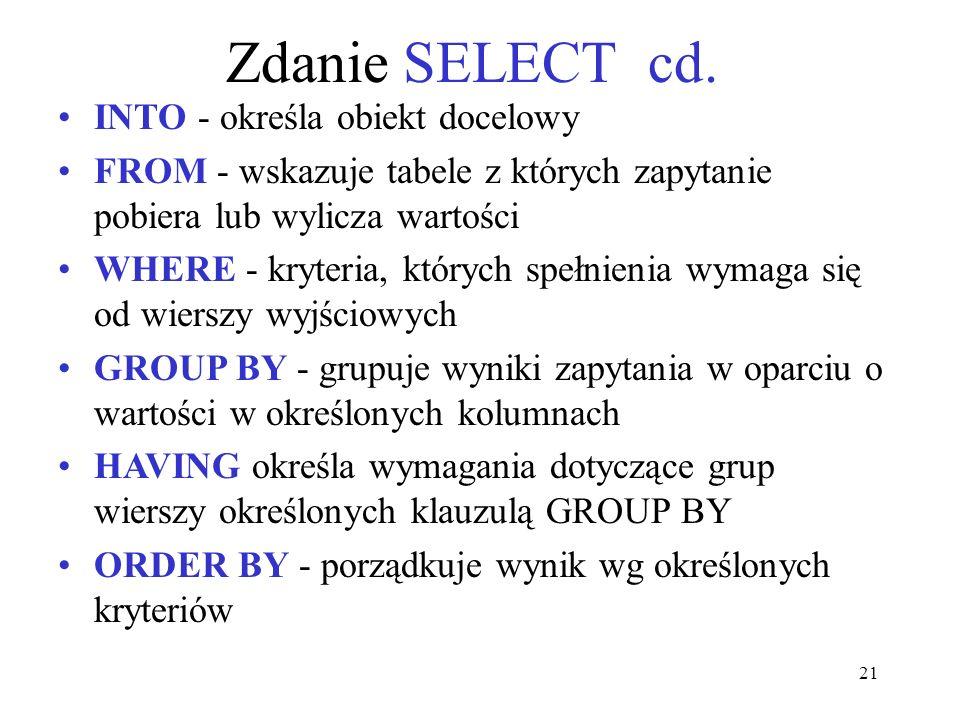 Zdanie SELECT cd. INTO - określa obiekt docelowy