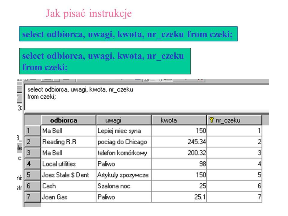 Jak pisać instrukcje select odbiorca, uwagi, kwota, nr_czeku from czeki; select odbiorca, uwagi, kwota, nr_czeku.