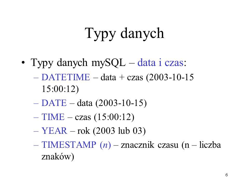 Typy danych Typy danych mySQL – data i czas: