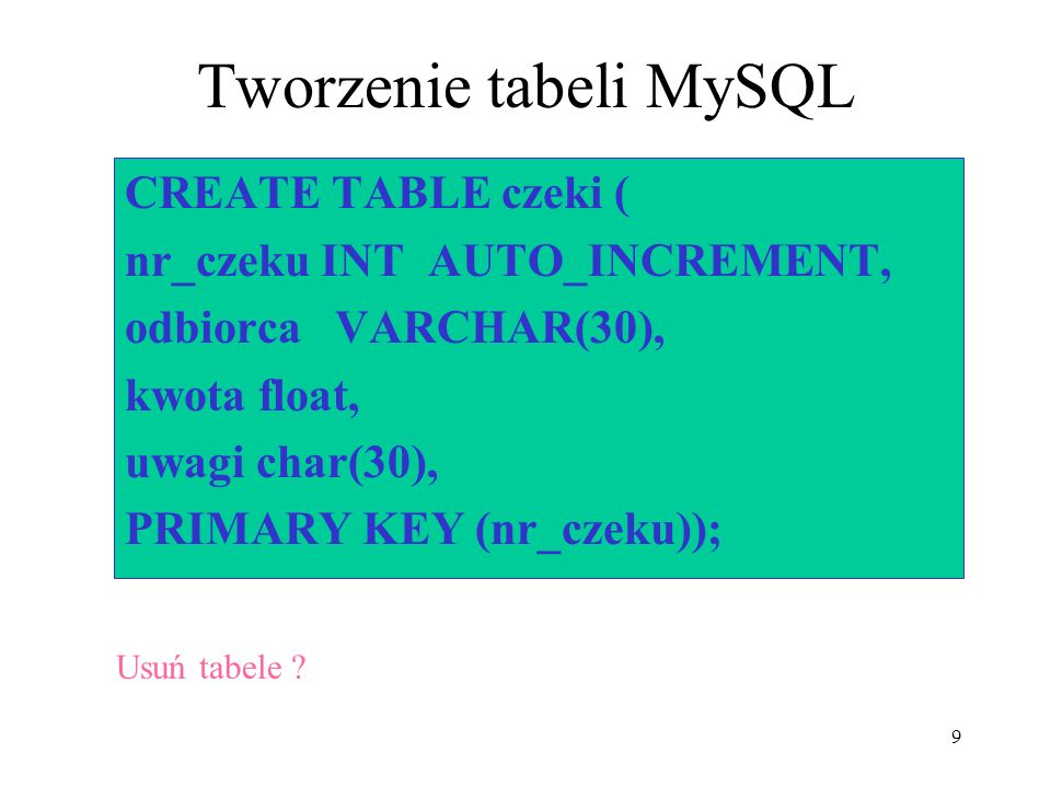 Tworzenie tabeli MySQL