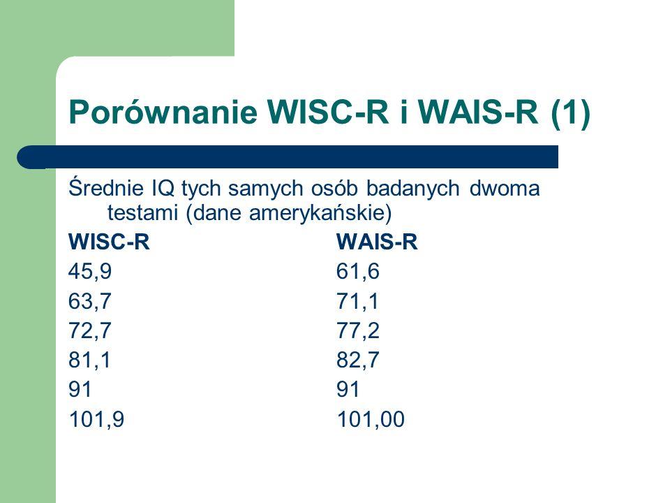 Porównanie WISC-R i WAIS-R (1)