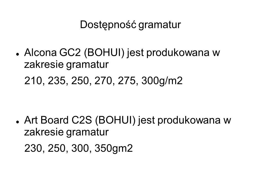 Dostępność gramatur Alcona GC2 (BOHUI) jest produkowana w zakresie gramatur. 210, 235, 250, 270, 275, 300g/m2.