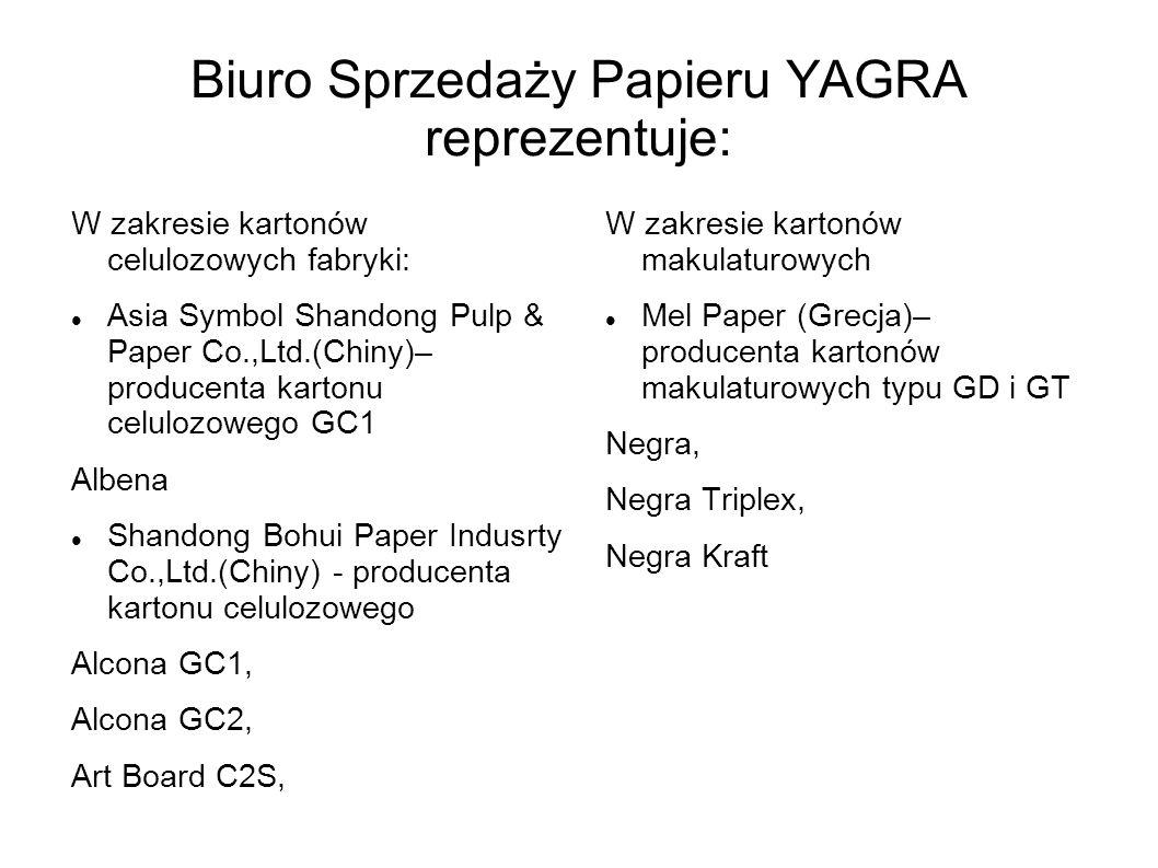 Biuro Sprzedaży Papieru YAGRA reprezentuje:
