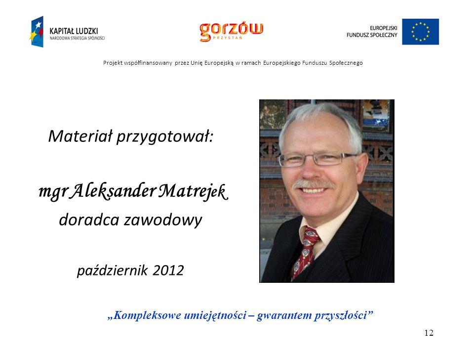 mgr Aleksander Matrejek