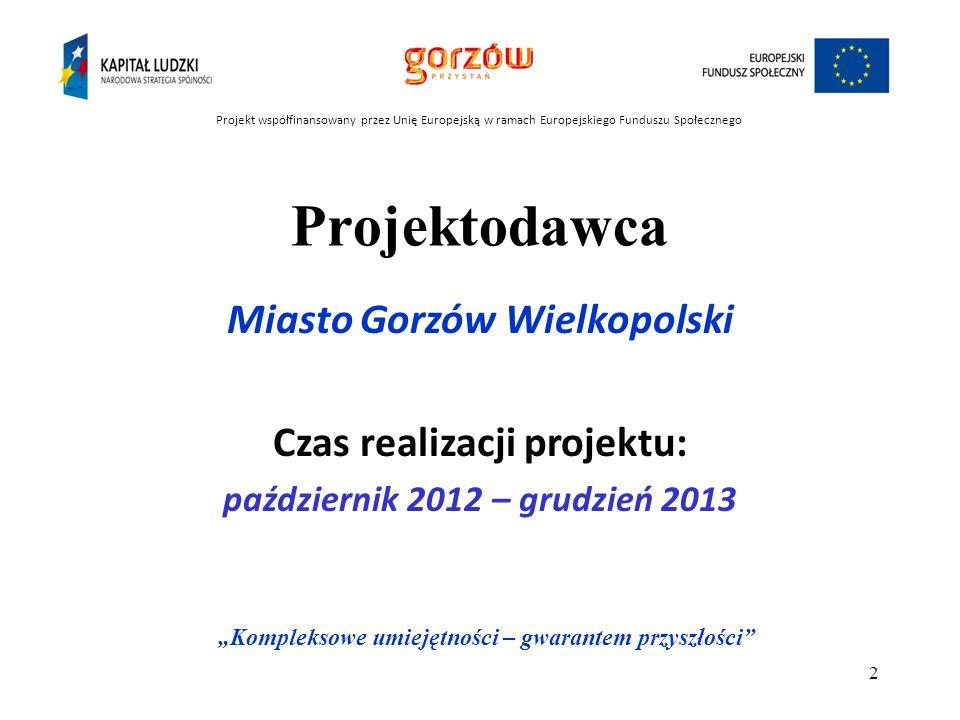 Projektodawca Miasto Gorzów Wielkopolski Czas realizacji projektu: