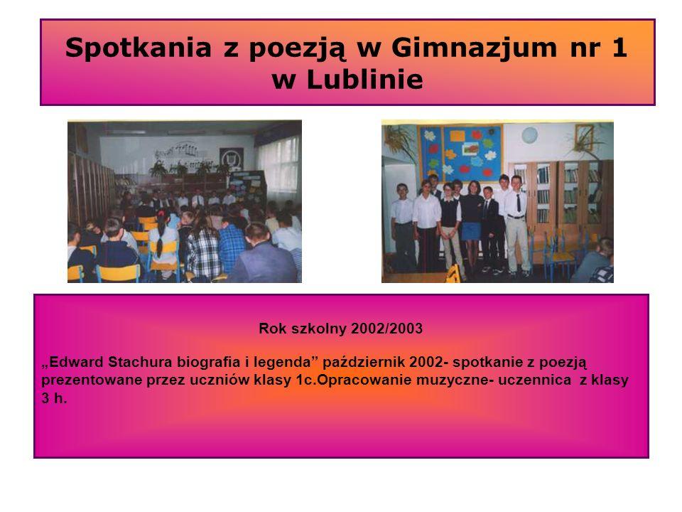 Spotkania z poezją w Gimnazjum nr 1 w Lublinie