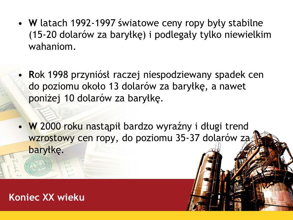 W latach 1992-1997 światowe ceny ropy były stabilne (15-20 dolarów za baryłkę) i podlegały tylko niewielkim wahaniom.