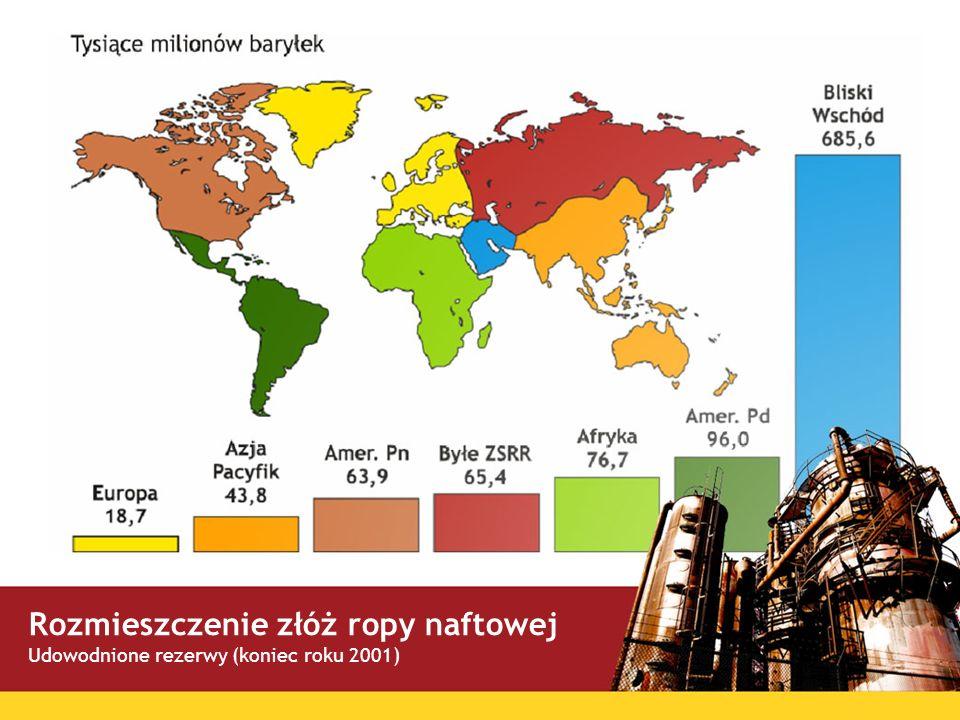Rozmieszczenie złóż ropy naftowej Udowodnione rezerwy (koniec roku 2001)