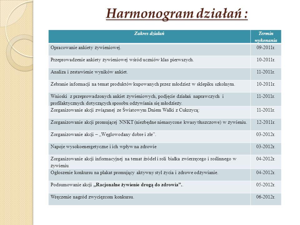 Harmonogram działań : Zakres działań Termin wykonania