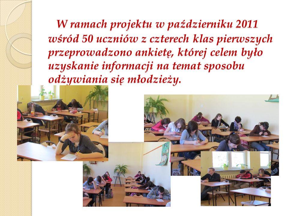 W ramach projektu w październiku 2011 wśród 50 uczniów z czterech klas pierwszych przeprowadzono ankietę, której celem było uzyskanie informacji na temat sposobu odżywiania się młodzieży.