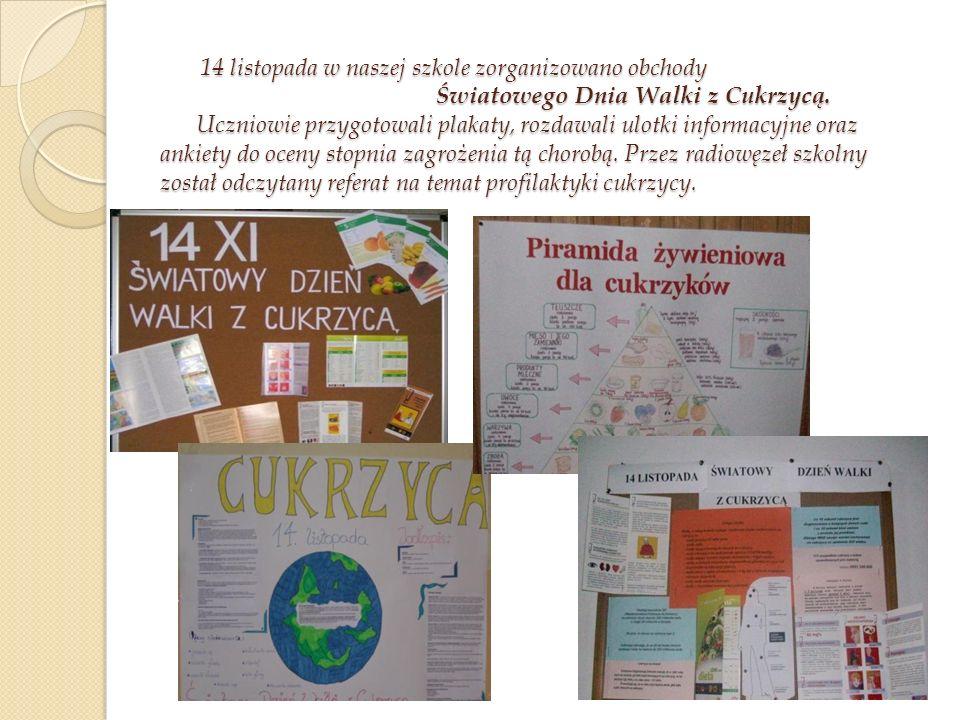 14 listopada w naszej szkole zorganizowano obchody Światowego Dnia Walki z Cukrzycą.