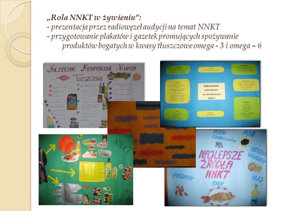 """""""Rola NNKT w żywieniu : - prezentacja przez radiowęzeł audycji na temat NNKT - przygotowanie plakatów i gazetek promujących spożywanie produktów bogatych w kwasy tłuszczowe omega - 3 i omega – 6"""