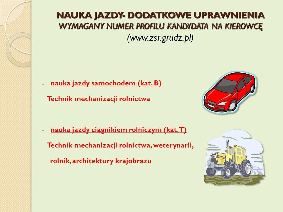 NAUKA JAZDY- DODATKOWE UPRAWNIENIA WYMAGANY NUMER PROFILU KANDYDATA NA KIEROWCĘ (www.zsr.grudz.pl)