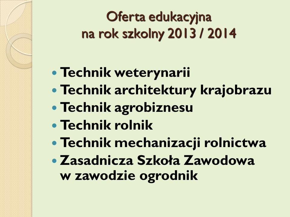 Oferta edukacyjna na rok szkolny 2013 / 2014