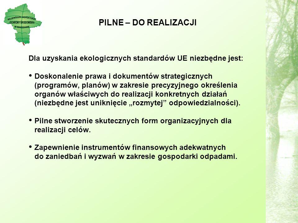 PILNE – DO REALIZACJI Dla uzyskania ekologicznych standardów UE niezbędne jest: