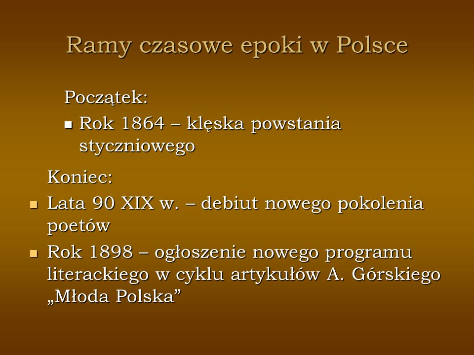 Ramy czasowe epoki w Polsce
