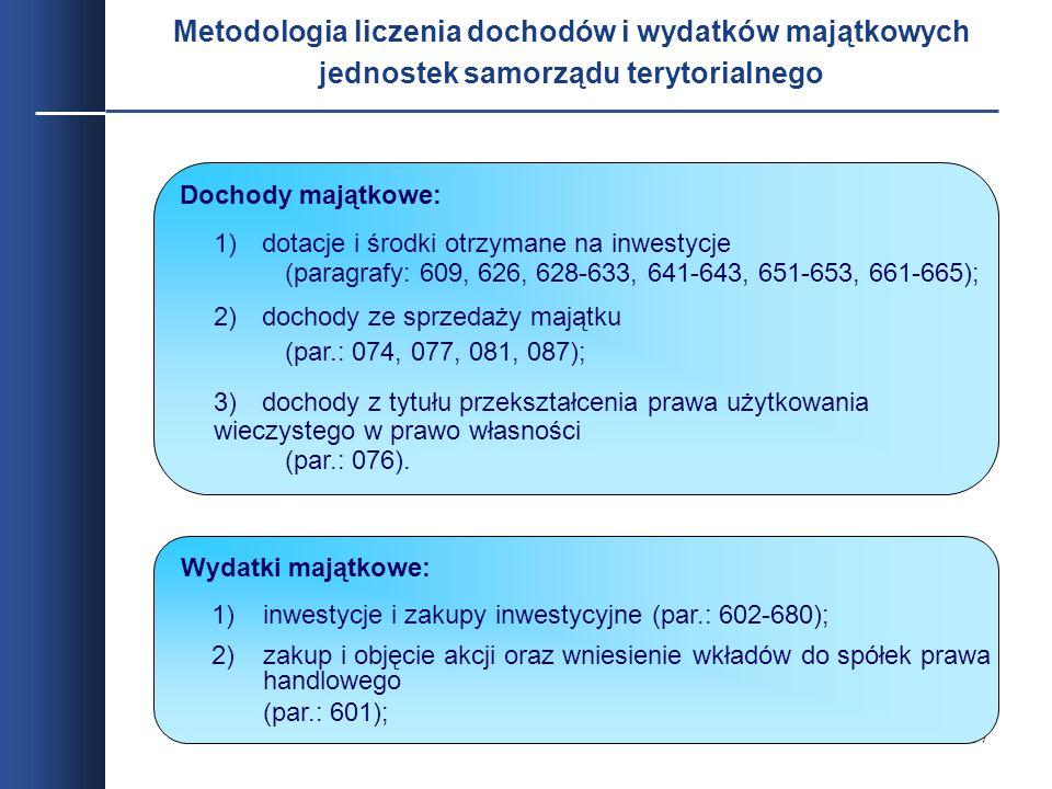 Metodologia liczenia dochodów i wydatków majątkowych