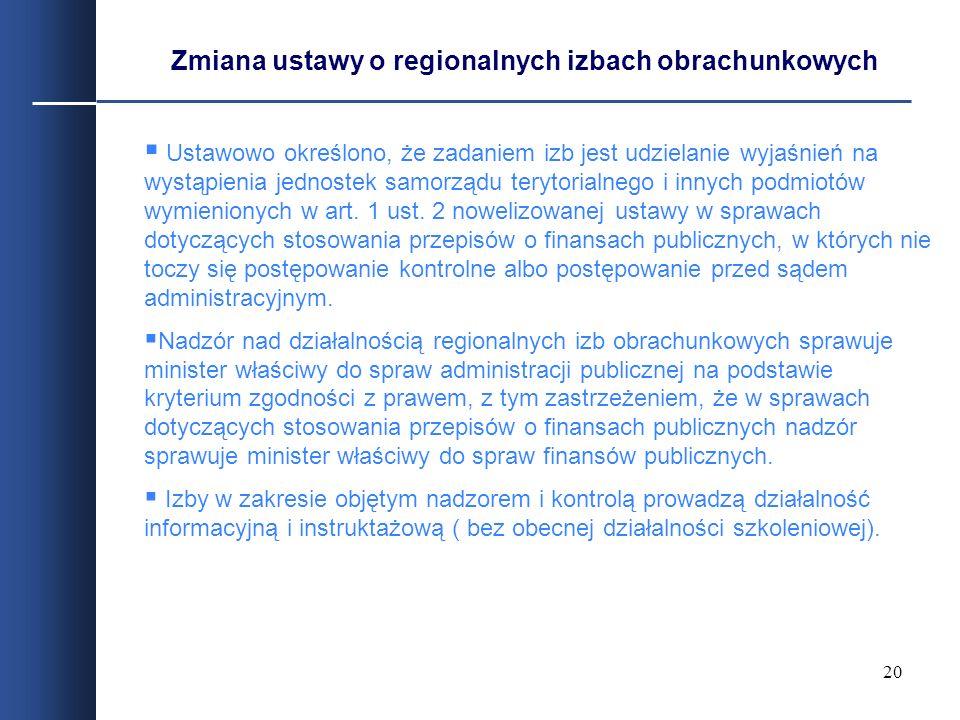 Zmiana ustawy o regionalnych izbach obrachunkowych