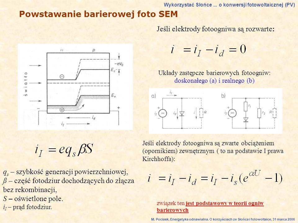 Układy zastępcze barierowych fotoogniw: doskonałego (a) i realnego (b)