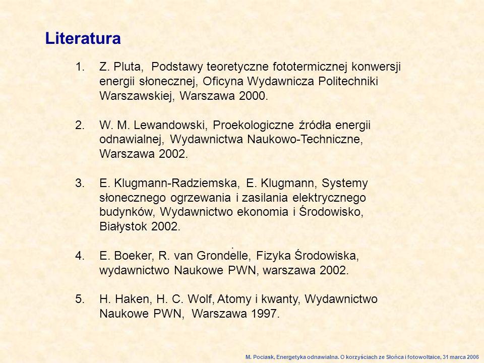 Literatura Z. Pluta, Podstawy teoretyczne fototermicznej konwersji energii słonecznej, Oficyna Wydawnicza Politechniki Warszawskiej, Warszawa 2000.