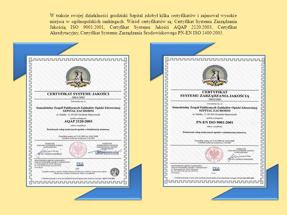 W trakcie swojej działalności grodziski Szpital zdobył kilka certyfikatów i zajmował wysokie miejsca w ogólnopolskich rankingach.