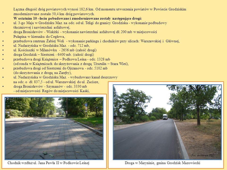zmodernizowane zostało 50,4 km dróg powiatowych.
