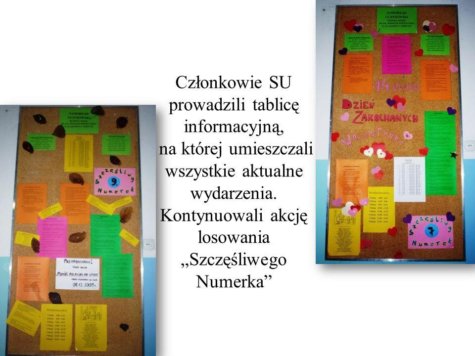 Członkowie SU prowadzili tablicę informacyjną, na której umieszczali wszystkie aktualne wydarzenia.