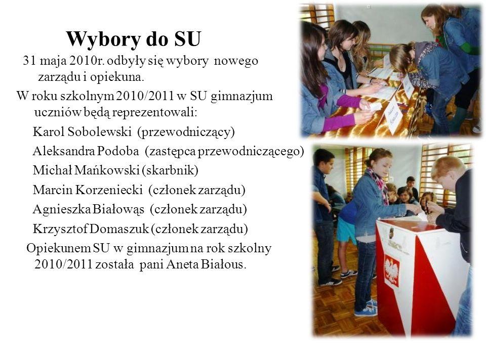 Wybory do SU 31 maja 2010r. odbyły się wybory nowego zarządu i opiekuna. W roku szkolnym 2010/2011 w SU gimnazjum uczniów będą reprezentowali: