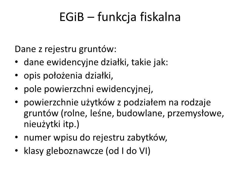 EGiB – funkcja fiskalna