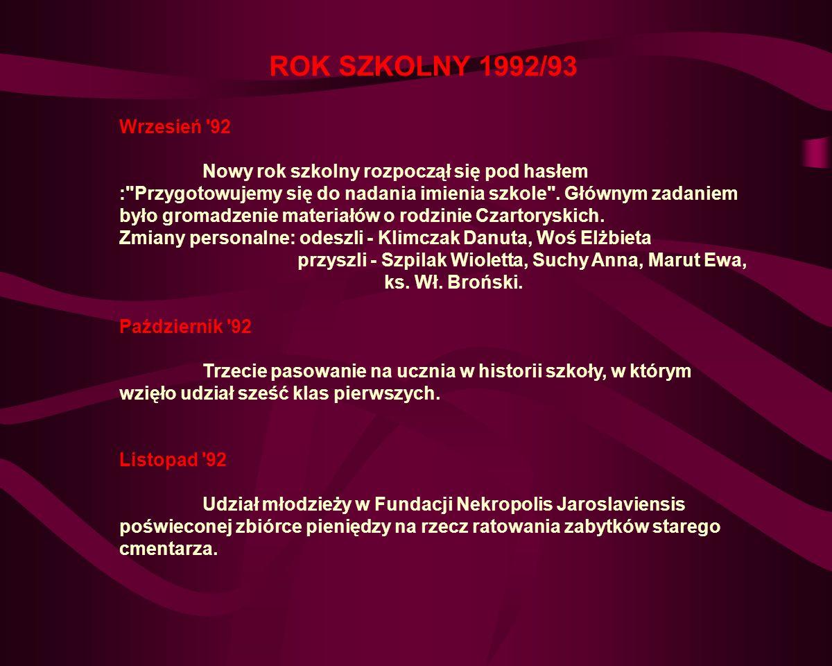 ROK SZKOLNY 1992/93 Wrzesień 92.