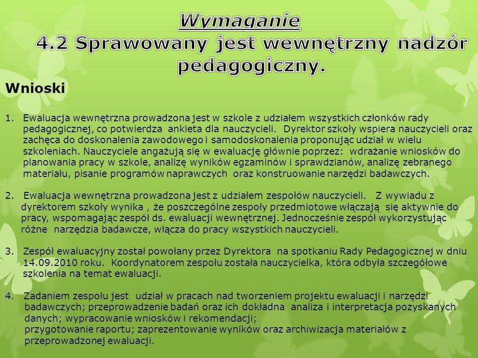 4.2 Sprawowany jest wewnętrzny nadzór pedagogiczny.