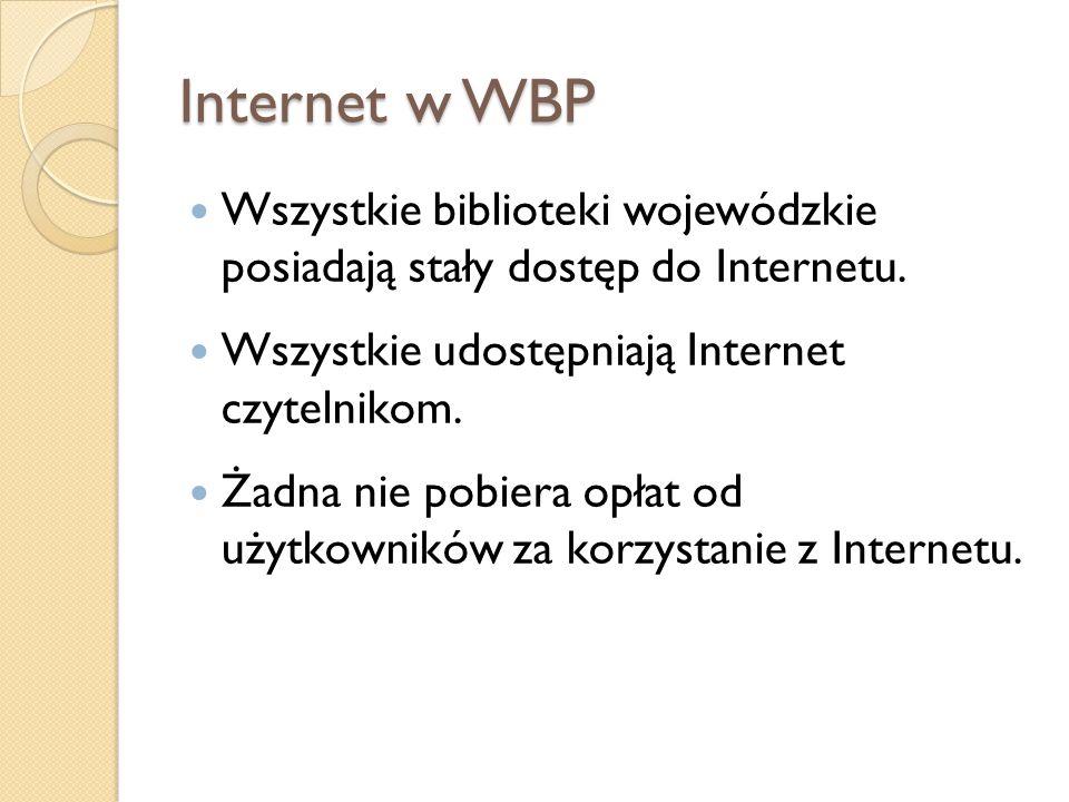 Internet w WBP Wszystkie biblioteki wojewódzkie posiadają stały dostęp do Internetu. Wszystkie udostępniają Internet czytelnikom.