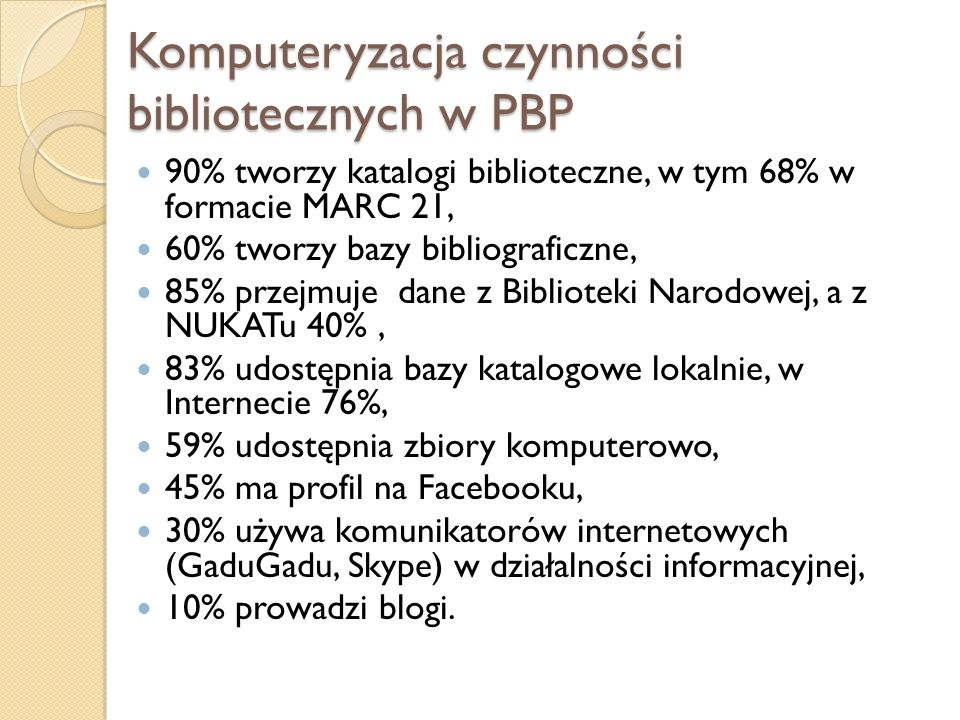 Komputeryzacja czynności bibliotecznych w PBP