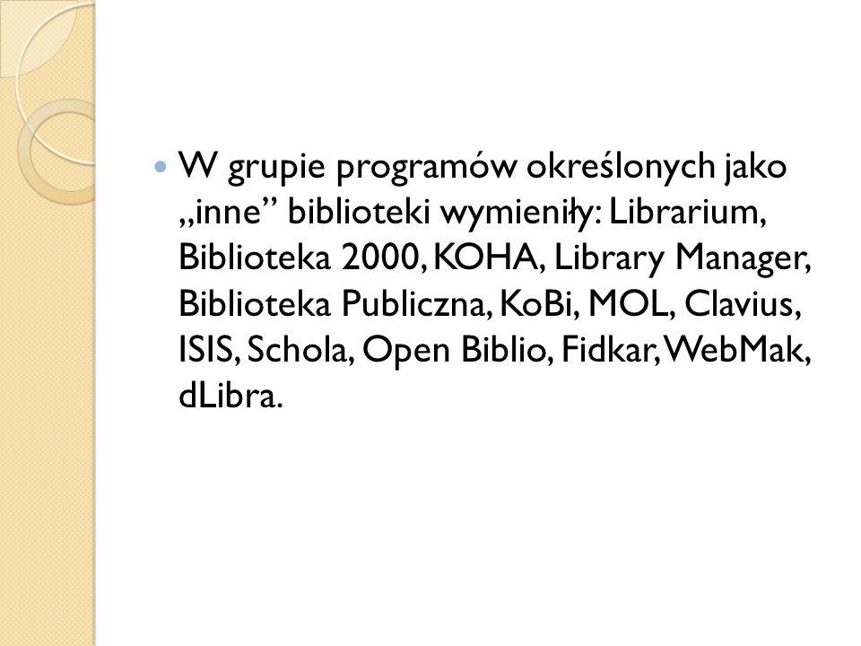 """W grupie programów określonych jako """"inne biblioteki wymieniły: Librarium, Biblioteka 2000, KOHA, Library Manager, Biblioteka Publiczna, KoBi, MOL, Clavius, ISIS, Schola, Open Biblio, Fidkar, WebMak, dLibra."""
