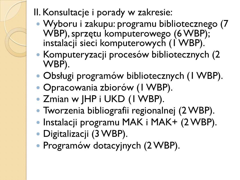 II. Konsultacje i porady w zakresie: