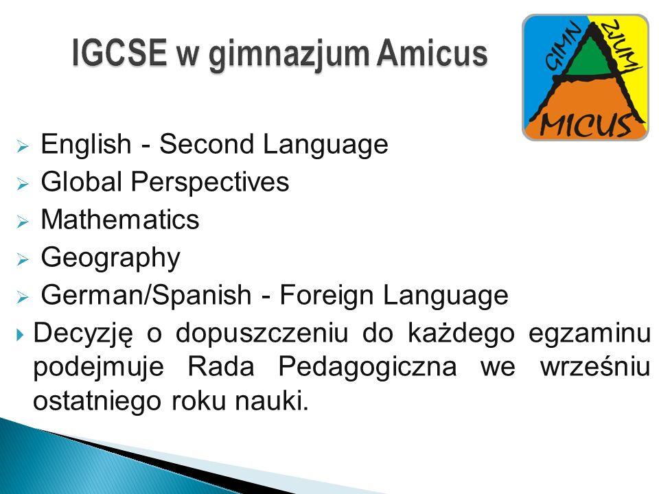 IGCSE w gimnazjum Amicus