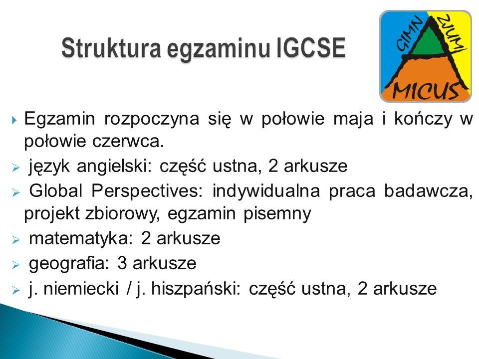 Struktura egzaminu IGCSE
